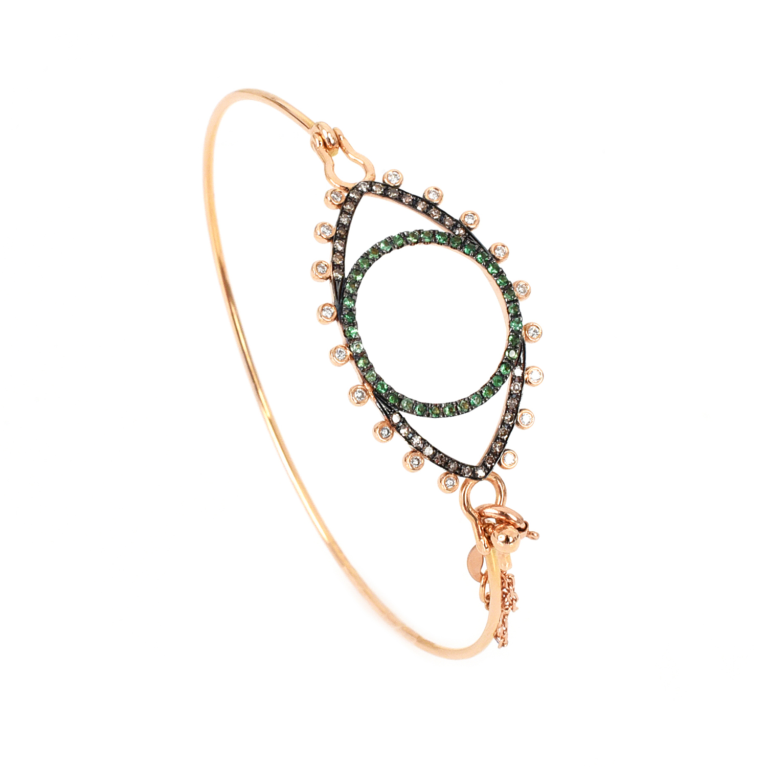 ROSE GOLD BRACELET 18-CARAT WHITE – BROWN DIAMONDS AND TSAVORITES