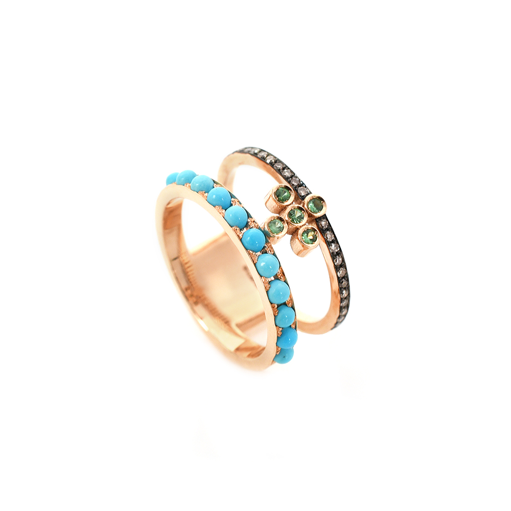 ROSE GOLD 18-CARAT DOUBLE RING WITH CROSS