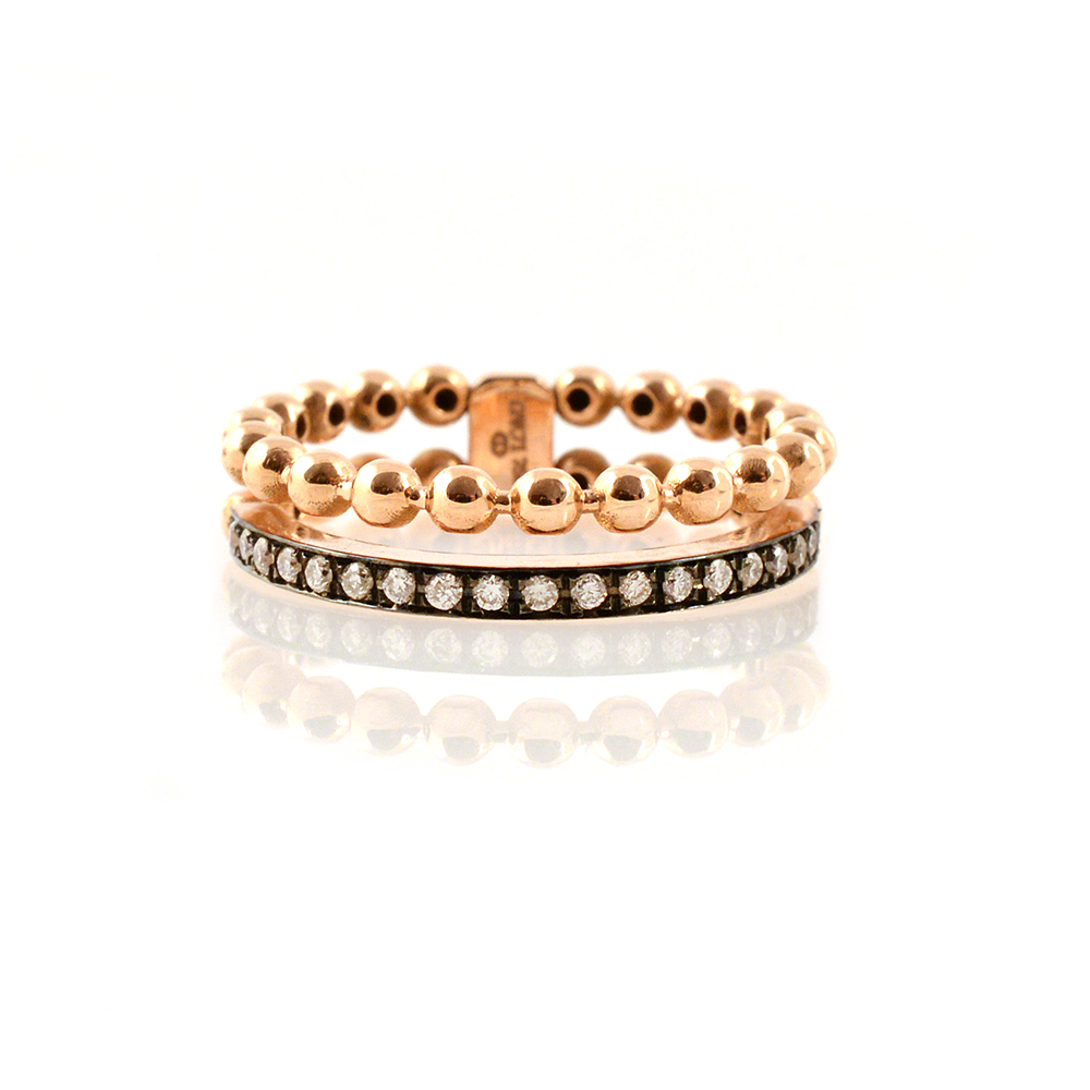 ROSE GOLD 18-CARAT BUBBLE RING WITH DIAMONDS