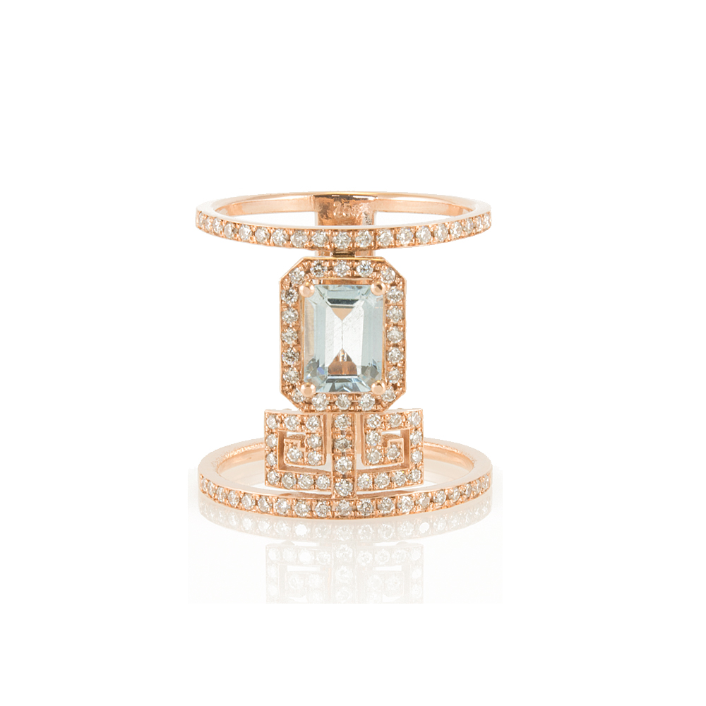 ROSE GOLD 18-CARAT MEANDROS RING WITH AQUAMARINE AND DIAMONDS
